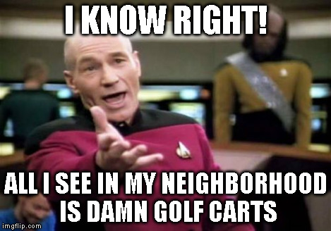 Picard Wtf Meme | I KNOW RIGHT! ALL I SEE IN MY NEIGHBORHOOD IS DAMN GOLF CARTS | image tagged in memes,picard wtf | made w/ Imgflip meme maker