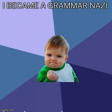 Success Kid Meme | I BECAME A GRAMMAR NAZI | image tagged in memes,success kid | made w/ Imgflip meme maker