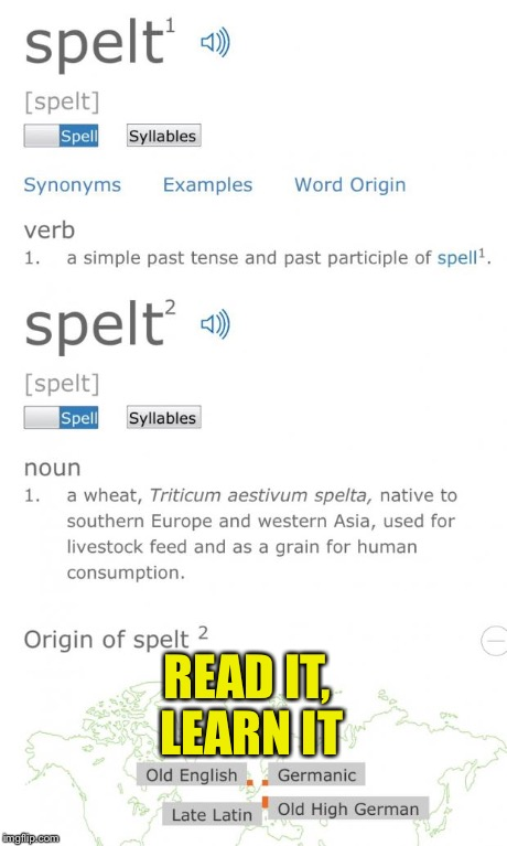 READ IT, LEARN IT | image tagged in spelt | made w/ Imgflip meme maker