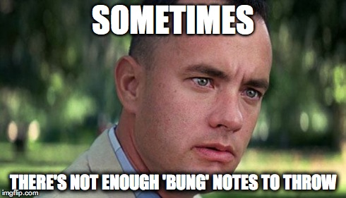 Forest Gump | SOMETIMES THERE'S NOT ENOUGH 'BUNG' NOTES TO THROW | image tagged in forest gump | made w/ Imgflip meme maker