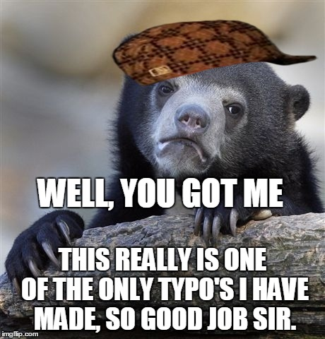 Confession Bear Meme | WELL, YOU GOT ME THIS REALLY IS ONE OF THE ONLY TYPO'S I HAVE MADE, SO GOOD JOB SIR. | image tagged in memes,confession bear,scumbag | made w/ Imgflip meme maker