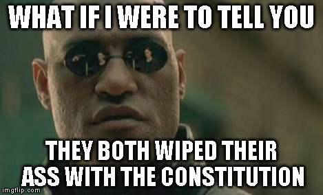 Matrix Morpheus Meme | WHAT IF I WERE TO TELL YOU THEY BOTH WIPED THEIR ASS WITH THE CONSTITUTION | image tagged in memes,matrix morpheus | made w/ Imgflip meme maker