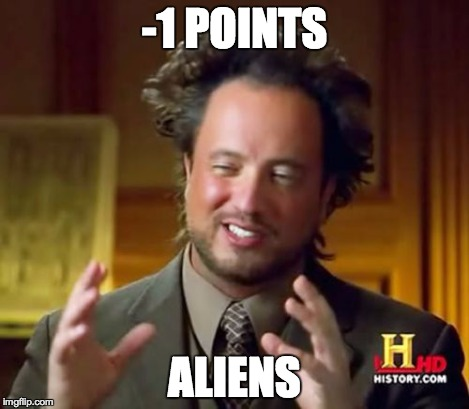 Ancient Aliens Meme | -1 POINTS ALIENS | image tagged in memes,ancient aliens | made w/ Imgflip meme maker