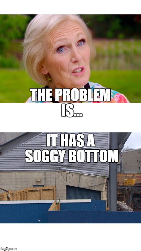 Mary Berry identifies the problem at Windsor Park | THE PROBLEM IS... IT HAS A SOGGY BOTTOM | image tagged in bake-off,mary berry,bbc newsline,bbc sport ni,irishfa,windsor park | made w/ Imgflip meme maker