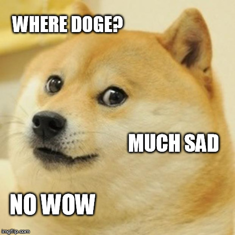 Doge Meme | WHERE DOGE? MUCH SAD NO WOW | image tagged in memes,doge | made w/ Imgflip meme maker