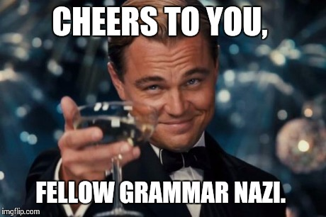 Leonardo Dicaprio Cheers Meme | CHEERS TO YOU, FELLOW GRAMMAR NAZI. | image tagged in memes,leonardo dicaprio cheers | made w/ Imgflip meme maker