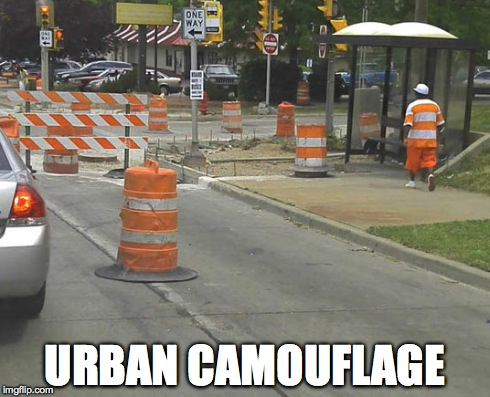 Where is he? | URBAN CAMOUFLAGE | image tagged in camo,camouflage,cones | made w/ Imgflip meme maker