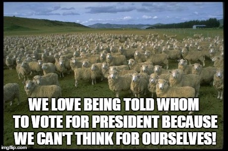 Obama Sheep | WE LOVE BEING TOLD WHOM TO VOTE FOR PRESIDENT BECAUSE WE CAN'T THINK FOR OURSELVES! | image tagged in obama sheep | made w/ Imgflip meme maker