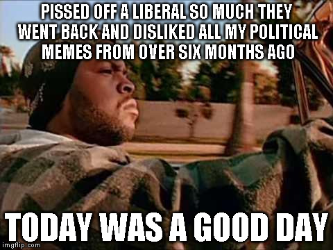 Today Was A Good Day | PISSED OFF A LIBERAL SO MUCH THEY WENT BACK AND DISLIKED ALL MY POLITICAL MEMES FROM OVER SIX MONTHS AGO TODAY WAS A GOOD DAY | image tagged in memes,today was a good day | made w/ Imgflip meme maker