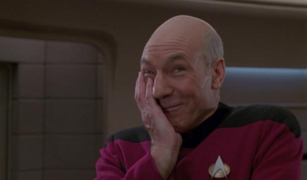 High Quality laughing Picard Blank Meme Template
