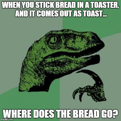 Bread raptor | WHEN YOU STICK BREAD IN A TOASTER, AND IT COMES OUT AS TOAST... WHERE DOES THE BREAD GO? | image tagged in memes,philosoraptor,toast | made w/ Imgflip meme maker