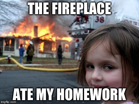 Disaster Girl Meme | THE FIREPLACE ATE MY HOMEWORK | image tagged in memes,disaster girl | made w/ Imgflip meme maker