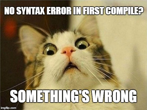 programmers | NO SYNTAX ERROR IN FIRST COMPILE? SOMETHING'S WRONG | image tagged in memes,programmer facepalm | made w/ Imgflip meme maker
