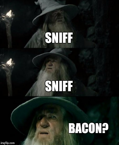 Confused Gandalf Meme | SNIFF SNIFF BACON? | image tagged in memes,confused gandalf | made w/ Imgflip meme maker