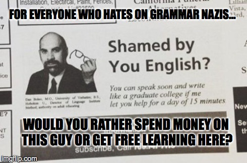There are worse things than Grammar Nazis | FOR EVERYONE WHO HATES ON GRAMMAR NAZIS... WOULD YOU RATHER SPEND MONEY ON THIS GUY OR GET FREE LEARNING HERE? | image tagged in grammar nazi,speak,write,bad luck brian | made w/ Imgflip meme maker