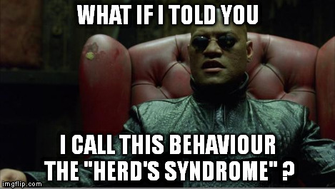 "Morpheus sitting down | WHAT IF I TOLD YOU I CALL THIS BEHAVIOUR THE ""HERD'S SYNDROME"" ? 