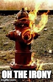 OH THE IRONY | image tagged in irony,fire,hydrant | made w/ Imgflip meme maker