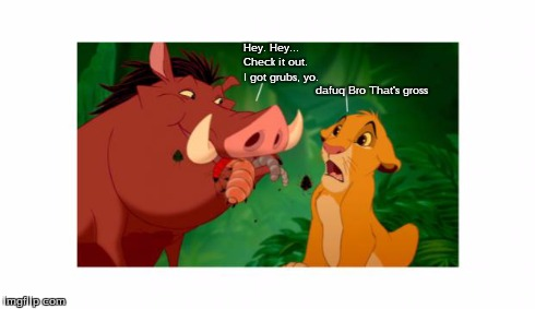 dafuq Pumba...? | Hey. Hey... I got grubs, yo. Check it out. dafuq Bro That's gross | image tagged in pumba,eating,grubs,insects,bugs,simba | made w/ Imgflip meme maker