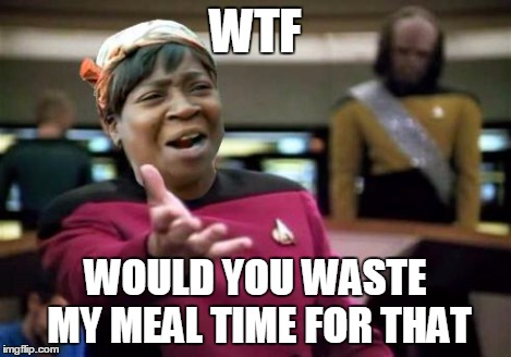 WTF ain't nobody got time | WTF WOULD YOU WASTE MY MEAL TIME FOR THAT | image tagged in wtf ain't nobody got time | made w/ Imgflip meme maker