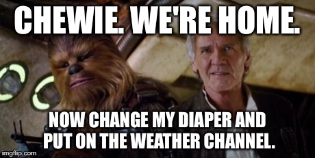 old han and chewie | CHEWIE. WE'RE HOME. NOW CHANGE MY DIAPER AND PUT ON THE WEATHER CHANNEL. | image tagged in old han and chewie,star wars | made w/ Imgflip meme maker