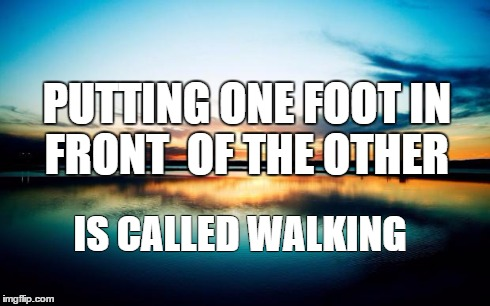 Sunset | PUTTING ONE FOOT IN FRONT OF THE OTHER IS CALLED WALKING | image tagged in sunset | made w/ Imgflip meme maker