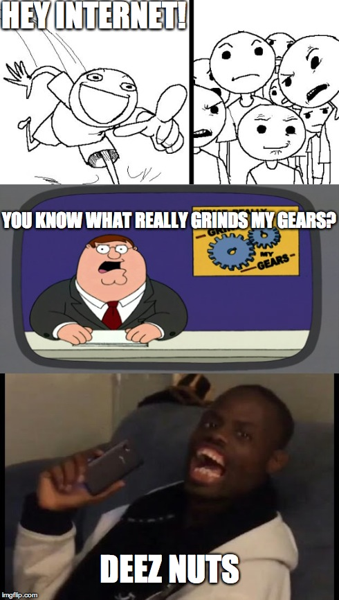 I think this guy is kinda annoying, but I couldn't help myself | HEY INTERNET! YOU KNOW WHAT REALLY GRINDS MY GEARS? DEEZ NUTS | image tagged in memes,hey internet | made w/ Imgflip meme maker