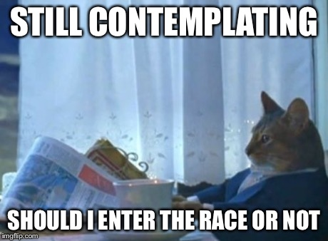 I Should Buy A Boat Cat Meme | STILL CONTEMPLATING SHOULD I ENTER THE RACE OR NOT | image tagged in memes,i should buy a boat cat | made w/ Imgflip meme maker