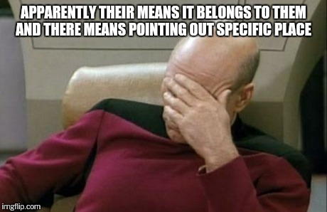 Captain Picard Facepalm Meme | APPARENTLY THEIR MEANS IT BELONGS TO THEM AND THERE MEANS POINTING OUT SPECIFIC PLACE | image tagged in memes,captain picard facepalm | made w/ Imgflip meme maker