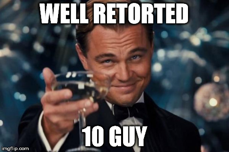 Leonardo Dicaprio Cheers Meme | WELL RETORTED 10 GUY | image tagged in memes,leonardo dicaprio cheers | made w/ Imgflip meme maker