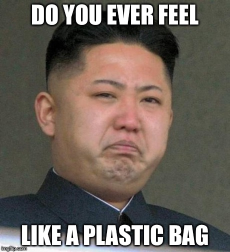 Sad Kim Jong-un | DO YOU EVER FEEL LIKE A PLASTIC BAG | image tagged in sad kim jong-un | made w/ Imgflip meme maker