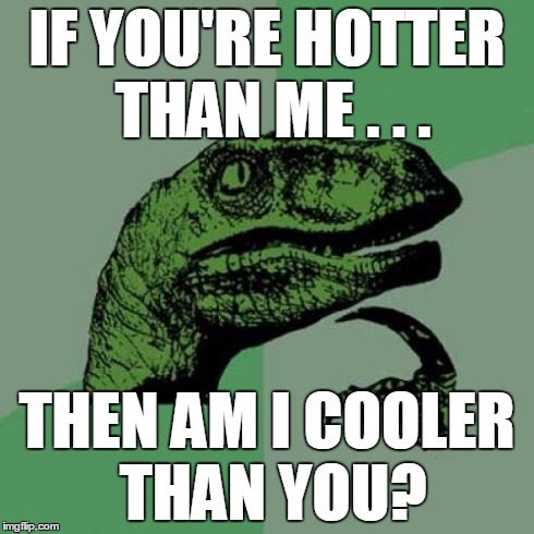 Philosoraptor Meme | IF YOU'RE HOTTER THAN ME . . . THEN AM I COOLER THAN YOU? | image tagged in memes,philosoraptor | made w/ Imgflip meme maker