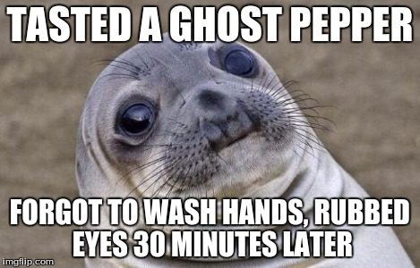 Awkward Moment Sealion | TASTED A GHOST PEPPER FORGOT TO WASH HANDS, RUBBED EYES 30 MINUTES LATER | image tagged in memes,awkward moment sealion | made w/ Imgflip meme maker
