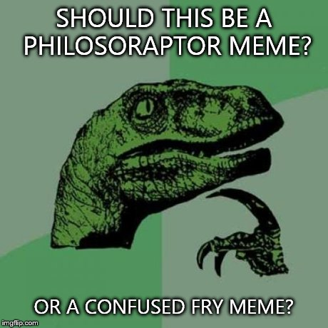 Philosoraptor Meme | SHOULD THIS BE A PHILOSORAPTOR MEME? OR A CONFUSED FRY MEME? | image tagged in memes,philosoraptor | made w/ Imgflip meme maker