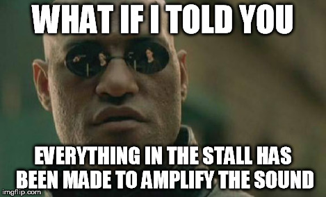 Matrix Morpheus Meme | WHAT IF I TOLD YOU EVERYTHING IN THE STALL HAS BEEN MADE TO AMPLIFY THE SOUND | image tagged in memes,matrix morpheus | made w/ Imgflip meme maker