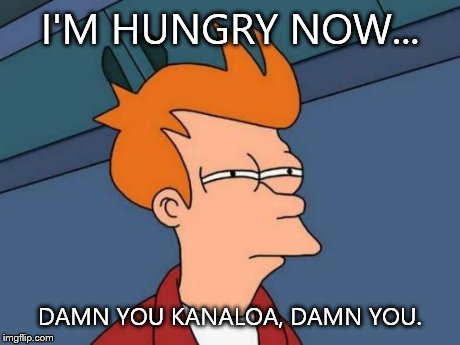 Futurama Fry Meme | I'M HUNGRY NOW... DAMN YOU KANALOA, DAMN YOU. | image tagged in memes,futurama fry | made w/ Imgflip meme maker