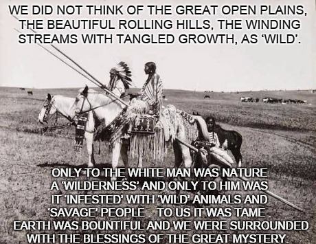 This is for the 364 days of the year that are not Earth Day. | WE DID NOT THINK OF THE GREAT OPEN PLAINS, THE BEAUTIFUL ROLLING HILLS, THE WINDING STREAMS WITH TANGLED GROWTH, AS 'WILD'. ONLY TO THE WHIT | image tagged in indians,inspirational | made w/ Imgflip meme maker