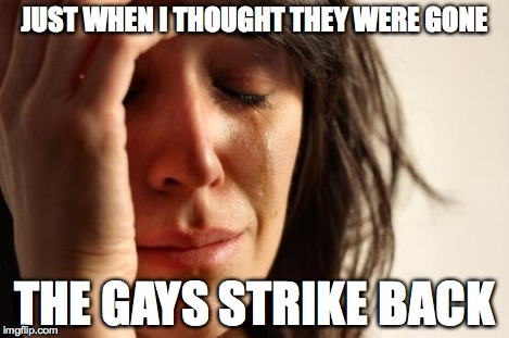 First World Problems Meme | JUST WHEN I THOUGHT THEY WERE GONE THE GAYS STRIKE BACK | image tagged in memes,first world problems | made w/ Imgflip meme maker