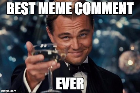 Leonardo Dicaprio Cheers Meme | BEST MEME COMMENT EVER | image tagged in memes,leonardo dicaprio cheers | made w/ Imgflip meme maker