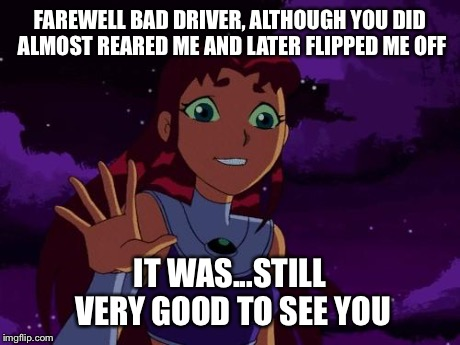 Happy Starfire | FAREWELL BAD DRIVER, ALTHOUGH YOU DID ALMOST REARED ME AND LATER FLIPPED ME OFF IT WAS...STILL VERY GOOD TO SEE YOU | image tagged in happy starfire | made w/ Imgflip meme maker
