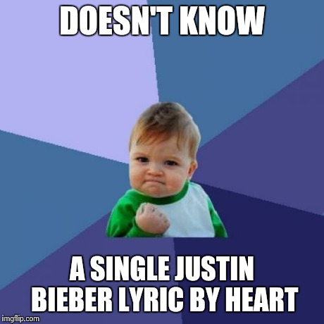 Success Kid Meme | DOESN'T KNOW A SINGLE JUSTIN BIEBER LYRIC BY HEART | image tagged in memes,success kid | made w/ Imgflip meme maker