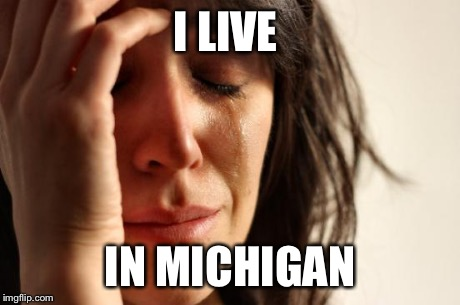 I LIVE IN MICHIGAN | image tagged in memes,first world problems | made w/ Imgflip meme maker