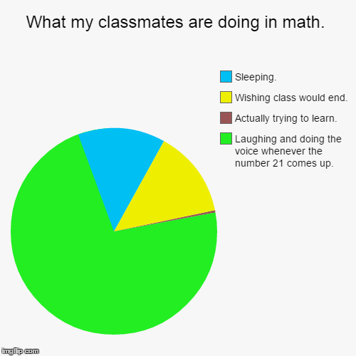 What my classmates are doing in math. | Laughing and doing the voice whenever the number 21 comes up., Actually trying to learn., Wishing cl | image tagged in funny,pie charts | made w/ Imgflip chart maker