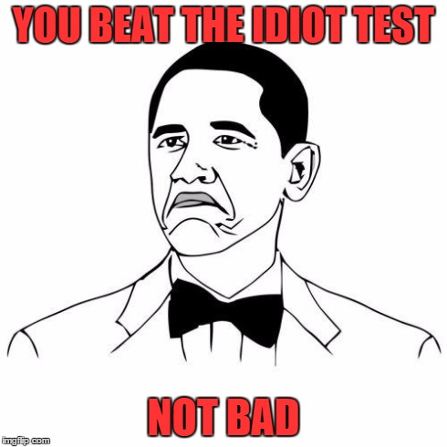 Not Bad | YOU BEAT THE IDIOT TEST NOT BAD | image tagged in not bad | made w/ Imgflip meme maker