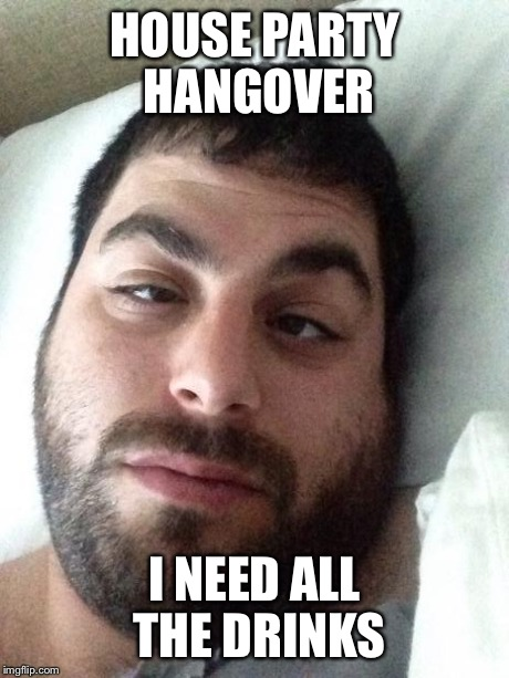 HOUSE PARTY HANGOVER I NEED ALL THE DRINKS | image tagged in hungover | made w/ Imgflip meme maker