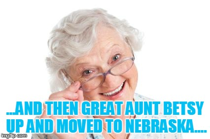 Grandma that's nice cool story bro | ...AND THEN GREAT AUNT BETSY UP AND MOVED TO NEBRASKA.... | image tagged in grandma that's nice cool story bro | made w/ Imgflip meme maker
