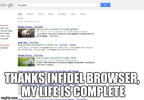 THANKS INFIDEL BROWSER, MY LIFE IS COMPLETE | image tagged in infidels,google,goat,sex | made w/ Imgflip meme maker