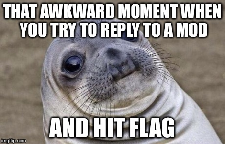 Awkward Moment Sealion Meme | THAT AWKWARD MOMENT WHEN YOU TRY TO REPLY TO A MOD AND HIT FLAG | image tagged in memes,awkward moment sealion | made w/ Imgflip meme maker