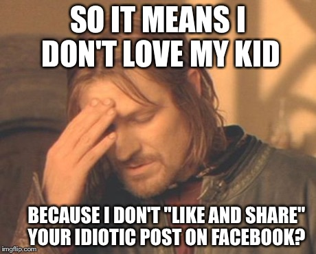 "Frustrated Boromir | SO IT MEANS I DON'T LOVE MY KID BECAUSE I DON'T ""LIKE AND SHARE"" YOUR IDIOTIC POST ON FACEBOOK? 