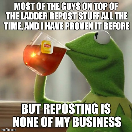 But Thats None Of My Business Meme | MOST OF THE GUYS ON TOP OF THE LADDER REPOST STUFF ALL THE TIME, AND I HAVE PROVEN IT BEFORE BUT REPOSTING IS NONE OF MY BUSINESS | image tagged in memes,but thats none of my business,kermit the frog | made w/ Imgflip meme maker