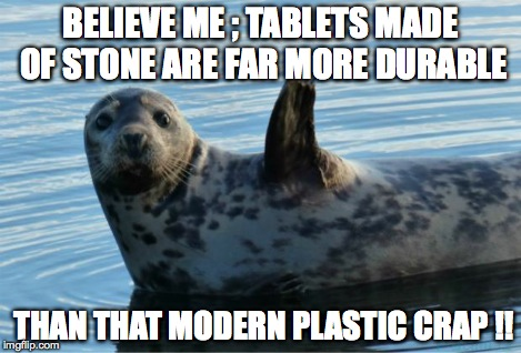 Seal | BELIEVE ME ; TABLETS MADE OF STONE ARE FAR MORE DURABLE THAN THAT MODERN PLASTIC CRAP !! | image tagged in seal | made w/ Imgflip meme maker